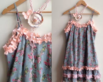 Mori girl dress Floral chiffon dress Upcycled clothing Mori kei Forest girl tank dress Fairy kei ruffle tunic Aesthetic clothing Sheer tops