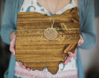 Ohio Wood Cutout | Handmade | Buckeye State | Gallery Wall Art | Cleveland Pride