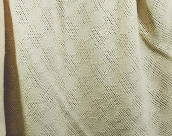 Handwoven Baby Blanket in Natural Pima Cotton Diamond Lace