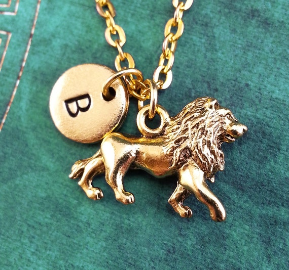 Lion necklace small gold lion pendant necklace lion memorial like this item aloadofball Choice Image