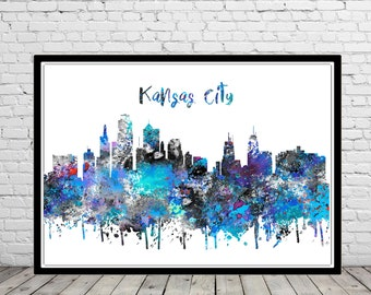 Kansas City, Kansas City Missouri, Kansas City skyline, Missouri, watercolor Kansas City, Kansas, watercolor City Print, Office Art