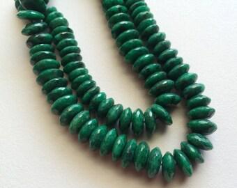 Green Corundum - Faceted Discs - German Cut Rondelles - Emerald Green Corundum Gemstone Beads - 8.5mm - 10.5mm - 50 Pieces - 8 Inch Half