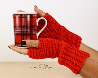 Red Hand knitted wool gloves, fingerless gloves gift for her, warmers, hand