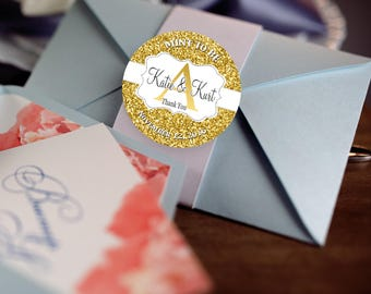 Personalized Envelope Seals Gold Foil Sticker Seals Large Round Embossed  Stickers Use As
