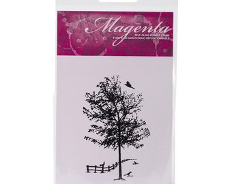 Magenta Cling Stamp Country Landscape