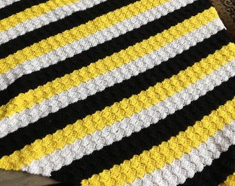 no. 47 Crocheted lap afghan in yellows blacks and white