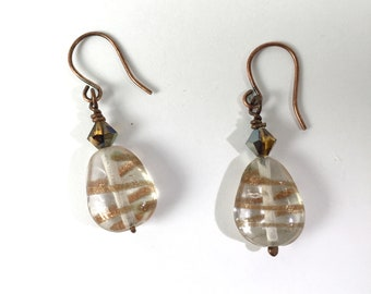 Vintage Copper Sparkle Pear-shaped Glass Bead and Vintage Swarovski Mink Crystal Earrings