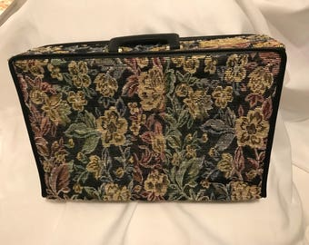 Tapestry vintage overnight suitcase