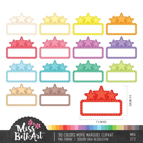 30 colors movie marquee clipart instant download rh etsy com movie theater marquee clipart movie marquee clipart