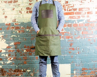 Green Canvas Apron, Leather and Non Waxed Canvas Apron, Custom Men's Apron with Custom Engraving Navy Apron Olive Apron Grill Apron Khaki