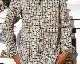 SUPERSALE-Man Long Sleeves  Fitted Shirt made of Pure Cotton in BLACK and WHITE  handmade Block Print