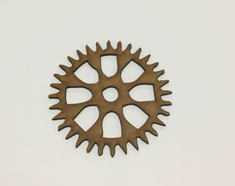 Steampunk Cogs Wooden MDF - 80mm - Decoration Card Making Craft - (8) - A10