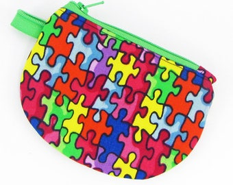 Autism Awareness, puzzle, credit card case, change purse, business card holder, coin wallet, womens change purse, credit card wallet