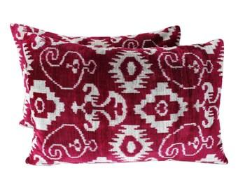Set of 2 Silk Velvet Ikat Pillow Covers VP23s, Bohemian pillow, Velvet Ikat Pillow, Velvet Pillow, Velvet Pillow Cover, Ikat Pillows
