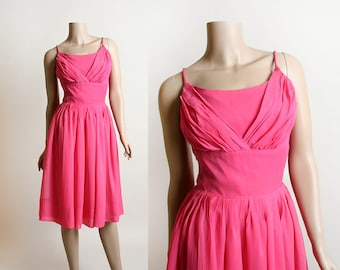 Vintage 1960s Dress - Hot Pink Chiffon Cocktail Party Dress - Sweetheart Valentines Day - Shelf Bust - Small