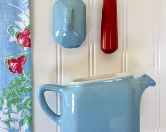 Restaurantware Teapot, Blue Personal Teapot, Individual Teapot, Rectangle 1950s One-cup Teapot