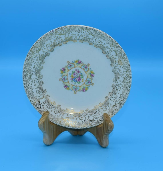Royal China Parisian Bread & Butter Plate Vintage 22K Gold Trim Santa Rosa Pattern Small Plate Hard to Find China Replacement Plate