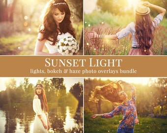 "Layered lights photo overlays ""Sunset Light"", golden hour effect, digital photo overlays for Photoshop, light & bokeh photo overlays"