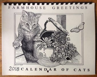 Cats Calendar -2018 Farmhouse Greetings Calendar of CATS drawn and printed by LC DeVona of Afton, NY