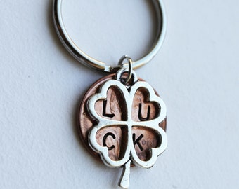 Good Luck Penny.  2018.  Graduation gift. Lucky Penny. Bon voyage.  Hand Stamped Penny.  Clover keychain, four leaf clover,best wishes.