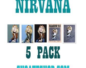 Kurt Cobain, Nirvana VALUE PACK - 5 PRINTS for 17 dollars