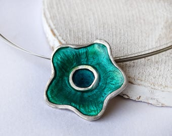 Flower Silver Pendant, Turquoise flower necklace,  Resin in Stering Silver - Nature jewelry