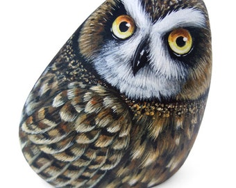A Short-Eared Owl Hand Painted On a Sea Rockl! A Stunning Piece for All of You, Owl Lovers! Unique Painted Stones Owls by Roberto Rizzo