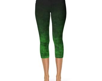 Green Ombre Capri Leggings, Green Capris, Grunge Green and Black Leggings, Ombre Capris, Yoga Leggings, Yoga Pants, Capri Stretch Pants