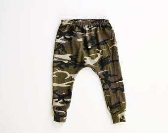 camo harems / camouflage harem pants / baby leggings / hipster kid / 0-3m to 5/6T