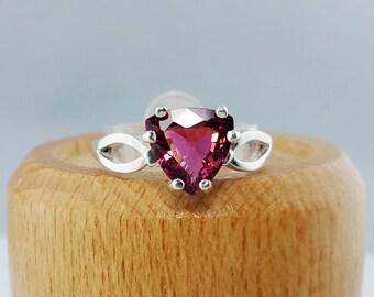 1.57 ct Rubellite Tourmaline Ring in Sterling Silver / Natural Red Trillion Cut Tourmaline Gemstone Ring / De Luna Gems / FREE SHIPPING