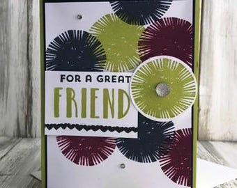Stampin Up Handmade Greeting Card, For a Great Friend Card