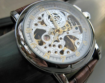 Luxury Mechanical Wrist Watch, Brown Leather Wristband - Silver Automatic Watch - Groomsmen Gift - Men's Watch - Item MWA57