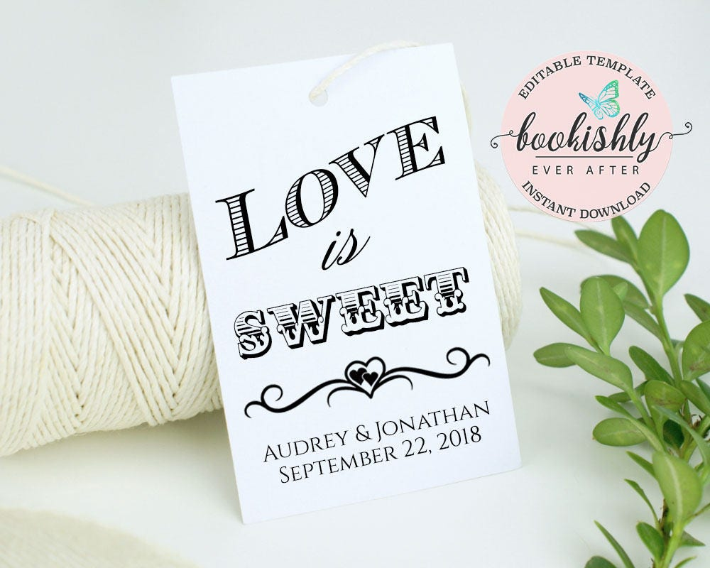 Wedding Favor Tag Template, Love is Sweet Tag, Printable Wedding ...