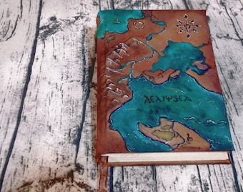 Map 300p, Hand Painted Canvas Journal, painted Nautical Blank Book of Shadows,