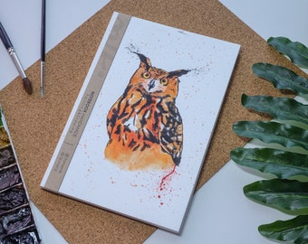 Hibou aquarelle carnet de notes à la main, couverture rigide journal, Illustration, carnet, carnet de croquis, journal intime, cadeau, 21 × 14.8