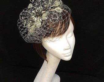 Silber Fascinator, Mutter der Braut, Sommer-Hochzeit, Hochzeit Hut, einzigartige Fascinator Hut Silber
