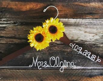Custom Wedding Hanger with two sunflower and date, Wedding Hanger, Bridal Hanger