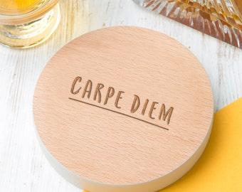Carpe Diem Inspirational Coloured Edge Wooden Coaster