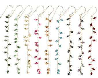 Long Dangling Swarovski Crystal Earrings on Sterling Silver Chain