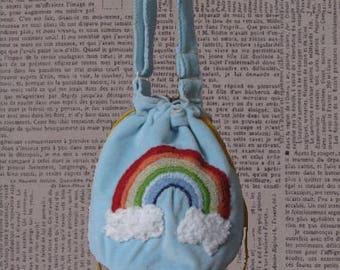 "Bag ""over the rainbow"" Velvet embroidered"