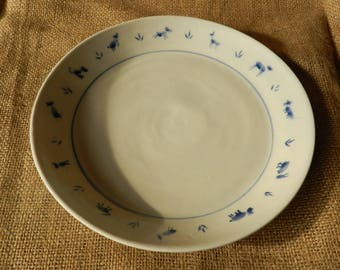 Hand thrown Porcelain Plate with Naive Creature Design