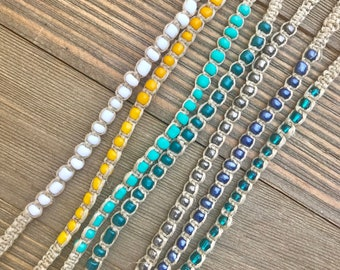 Tie On Beaded Hemp Bracelets