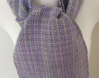 "Hand woven merino superfine and cotton scarf ""Lilac Trellis"