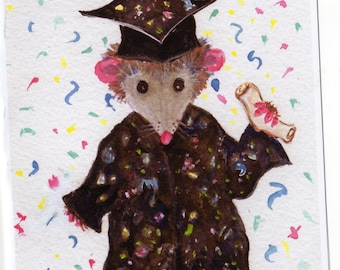 Funny possum graduation card, Happy Graduation Card Opossum graduate - Possum Greeting Card Print from my original watercolor