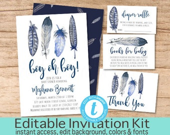 Boho Tribal Feather Invitation, Adventure shower invitation, Adventure Baby Shower Invitation Kit, Printable, EDITABLE Instant Download