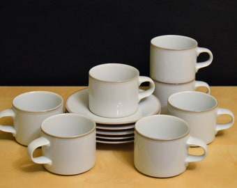 12 Pcs Dansk Concerto Cups and Saucers, 7) ALLEGRO 10 oz Stackable Cups, 3) Allegro Saucers, 2) Adagio Saucers, Made in Japan, White Taupe