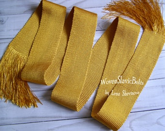 Gold shiny sash, Custom woven shiny sash, Handwoven sash, Bride sash, Sweet 16th gift, To embroidered Blouse or Dress, Colors available