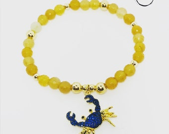 Blue crab charm bracelet