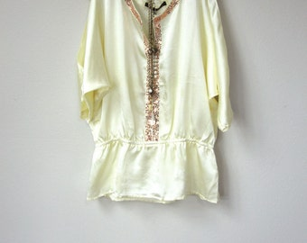 Vintage Boho Grecian Open Shoulder Cream Ivory Embellished Tunic Top, Cold Shoulder Blouse with Sparkly Gold Sequin Trim and Drop Waist