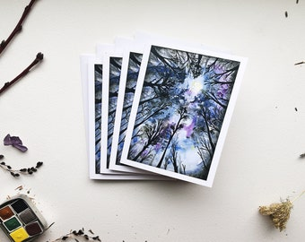 Dark Woods Nature Art Blank Greeting Cards - pack of 4